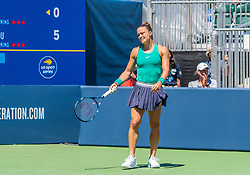 August 5, 2018 - San Jose, CA, U.S. - SAN JOSE, CA - AUGUST 05: Maria Sakkari (GRE) shows some disappointment in her play during the WTA Singles Championship at the Mubadala Silicon Valley Classic  at the San Jose State University Stadium Court in San Jose, CA  on Sunday, August 5, 2018. (Photo by Douglas Stringer/Icon Sportswire) (Credit Image: © Douglas Stringer/Icon SMI via ZUMA Press)