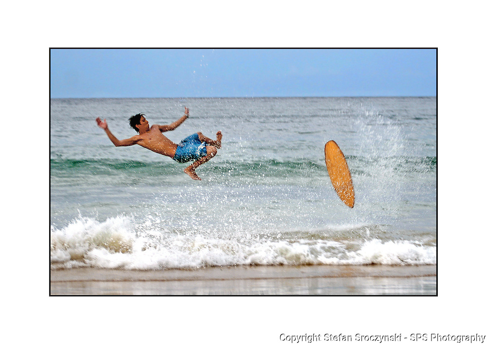 Skim boarder comes unstuck on Noosa Beach. The landing looked rather painful.