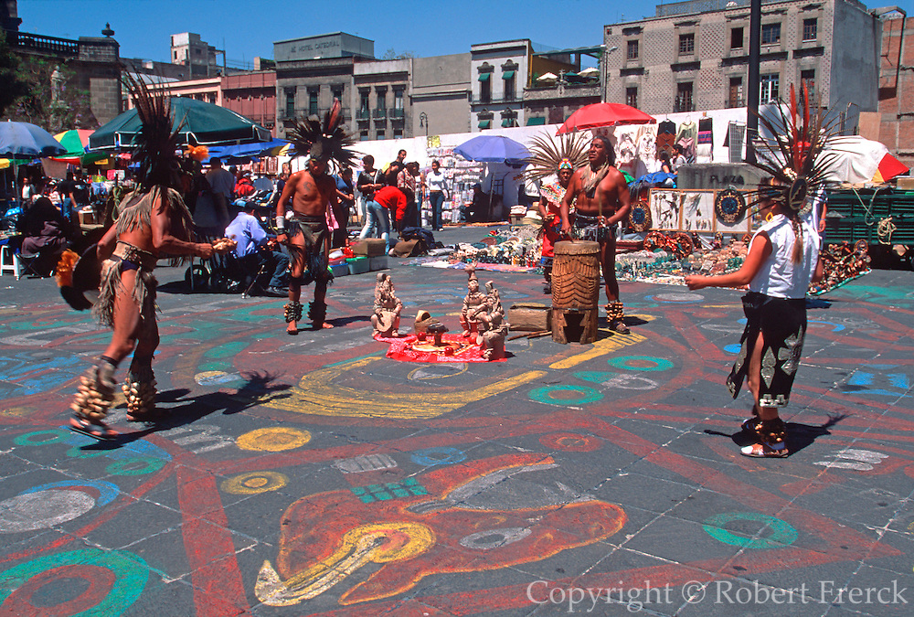 MEXICO, MEXICO CITY, AZTEC Aztec dancers perform in Zocalo Plaza