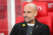 Pep Guardiola during the Premier League match between Stoke City and Manchester City at the Bet365 Stadium, Stoke-on-Trent, England on 12 March 2018. Picture by Graham Holt.