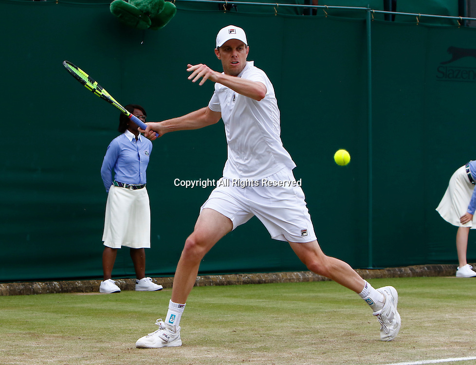 04.07.2016. All England Lawn Tennis and Croquet Club, London, England. The Wimbledon Tennis Championships Day 8. Sam Querry (USA) hits a forehand during his singles match against Nicolas Mahut (FRA).