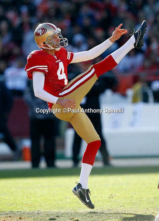 San Francisco 49ers punter Andy Lee (4) punts during the NFL week 11 football game against the Tampa Bay Buccaneers on Sunday, November 21, 2010 in San Francisco, California. The Bucs won the game 21-0. (©Paul Anthony Spinelli)