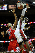Apr 19, 2010; Cleveland, OH, USA; Cleveland Cavaliers forward LeBron James (23) collides with Chicago Bulls guard Jannero Pargo (2) after Pargo put in a lay-up during the fourth period in game two in the first round of the 2010 NBA playoffs at Quicken Loans Arena. The Cavaliers beat the Bulls 112-102. Mandatory Credit: Jason Miller-US PRESSWIRE