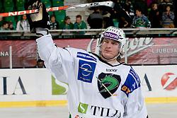 Tomi Mustonen (HDD Tilia Olimpija, #21) during ice-hockey match between HDD Tilia Olimpija and EHC Liwest Black Wings Linz in 18th Round of EBEL league, on November 5, 2010 at Hala Tivoli, Ljubljana, Slovenia. (Photo By Matic Klansek Velej / Sportida.com)