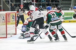 12.12.2014, Curt Fenzel Stadion, Augsburg, GER, DEL, Augsburger Panther vs Koelner Haie, 26. Runde, im Bild l-r: im Zweikampf, Aktion, mit Chris Mason #31 (Augsburger Panther), Mike Iggulden #73 (Koelner Haie), Steffen Toelzer #13 (Augsburger Panther) und Chris Minard #41 (Koelner Haie) // during Germans DEL Icehockey League 26th round match between Adler Mannheim and Koelner Haie at the Curt Fenzel Stadion in Augsburg, Germany on 2014/12/12. EXPA Pictures © 2014, PhotoCredit: EXPA/ Eibner-Pressefoto/ Kolbert<br /> <br /> *****ATTENTION - OUT of GER*****