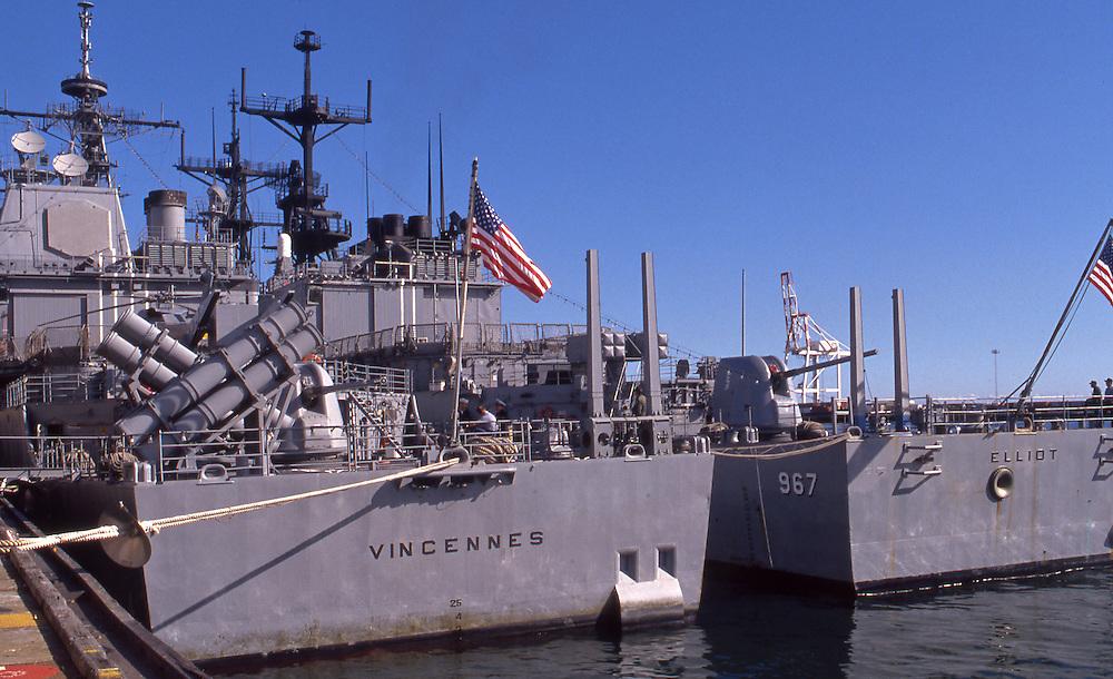 Warships USS Vincennes and USS Elliot in Fremantle harbour, Western Australia.