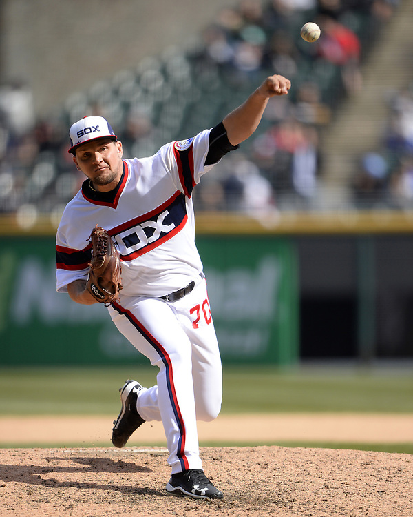 CHICAGO - APRIL 22:  Luis Avilan #70 of the Chicago White Sox pitches against the Houston Astros on April 22, 2018 at Guaranteed Rate Field in Chicago, Illinois.  (Photo by Ron Vesely)   Subject:   Luis Avilan