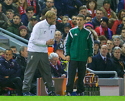 LIVERPOOL, ENGLAND - Thursday, November 26, 2015: Liverpool's manager Jürgen Klopp appeals a strange decision by the Israeli referee wth the fourth official Dvir Shimon during the UEFA Europa League Group Stage Group B match against FC Girondins de Bordeaux at Anfield. (Pic by David Rawcliffe/Propaganda)