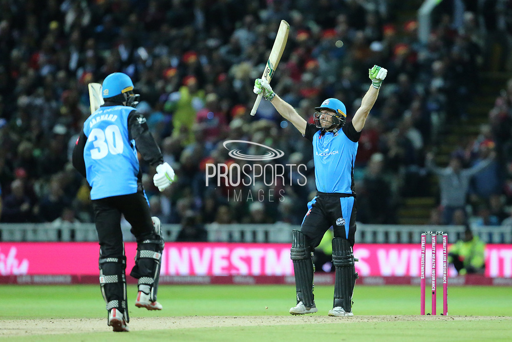 Worcestershire Rapids Ben Cox hits the winning run during the final of the Vitality T20 Finals Day 2018 match between Worcestershire rapids and Sussex Sharks at Edgbaston, Birmingham, United Kingdom on 15 September 2018.