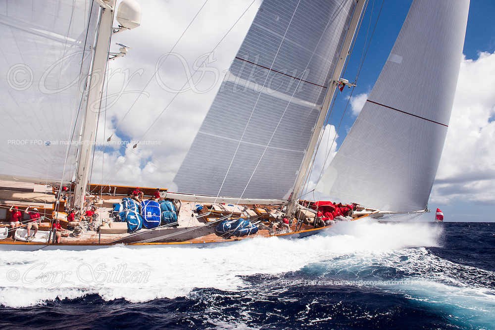 Adela sailing in the Antigua Superyacht Challenge, day two.