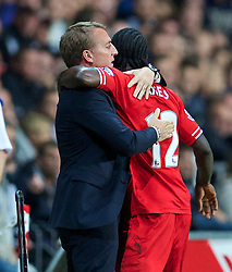 6.09.2013, Liberty Stadion, Swansea, ENG, Premier League, Swansea City vs FC Liverpool, 4. Runde, im Bild Liverpool's Victor Moses celebrates scoring the second goal against Swansea City, on his debut, with manager Brendan Rodgers during the English Premier League 4th round match between Swansea City AFC and Liverpool FC at the Liberty Stadium, Swansea, Great Britain on 2013/09/16. EXPA Pictures © 2013, PhotoCredit: EXPA/ Propagandaphoto/ David Rawcliffe<br /> <br /> ***** ATTENTION - OUT OF ENG, GBR, UK *****