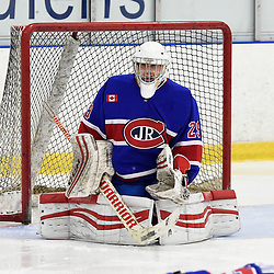 TORONTO, ON  - OCT 29,  2017: Ontario Junior Hockey League game between the Toronto Jr. Canadiens and the Toronto Patriots, Dalton Ewing #29 of the Toronto Jr. Canadiens protects the crease during the first period.<br /> (Photo by Andy Corneau / OJHL Images)