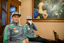 Jurij Tepes and Jernej Damjan during official presentation of the outfits of the Slovenian Ski Teams before new season 2015/16, on October 6, 2015 in Kulinarika Jezersek, Sora, Slovenia. Photo by Vid Ponikvar / Sportida
