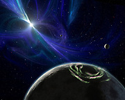 Artist's concept of the pulsar planet system discovered by Aleksander Wolszczan in 1992. Wolszczan used the Arecibo radio telescope in Puerto Rico to find three planets - the first of any kind ever found outside our solar system - circling a pulsar called PSR B1257+12. Pulsars are rapidly rotating neutron stars, which are the collapsed cores of exploded massive stars. They spin and pulse with radiation, much like a lighthouse beacon. Here, the pulsar's twisted magnetic fields are highlighted by the blue glow.
