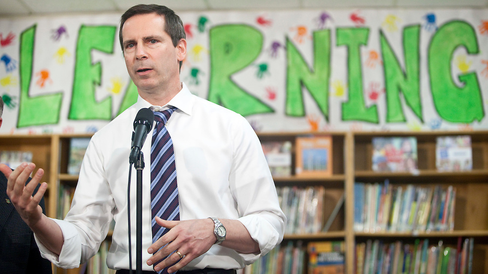 Ontario premier Dalton McGuinty speaks at a press conference at  Victor Lauriston School in Chatham, Ontario,  January 12, 2010, where he announced the details of the governments full-day learning program program for 4 and 5 year olds.<br /> CP Photo/ GEOFF ROBINS