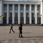 KIEV, UKRAINE - February 24, 2014: Members of Maidan's defence unit take guard outside Ukraine parliament building in Kiev. CREDIT: Paulo Nunes dos Santos