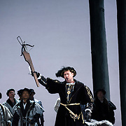 September 23, 2015 - New York, NY : Ildar Abdrazakov, with crossbow, performs as Henry (Enrico) VIII in a dress rehearsal for Gaetano Donizetti's 'Anne Bolena' at the Metropolitan Opera at Lincoln Center on Wednesday. CREDIT: Karsten Moran for The New York Times