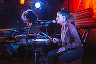 Lisa-Kainde Diaz and Naomi Diaz of Ibeyi on stage at King Tuts on November10, 2015 in Glasgow, Scotland.