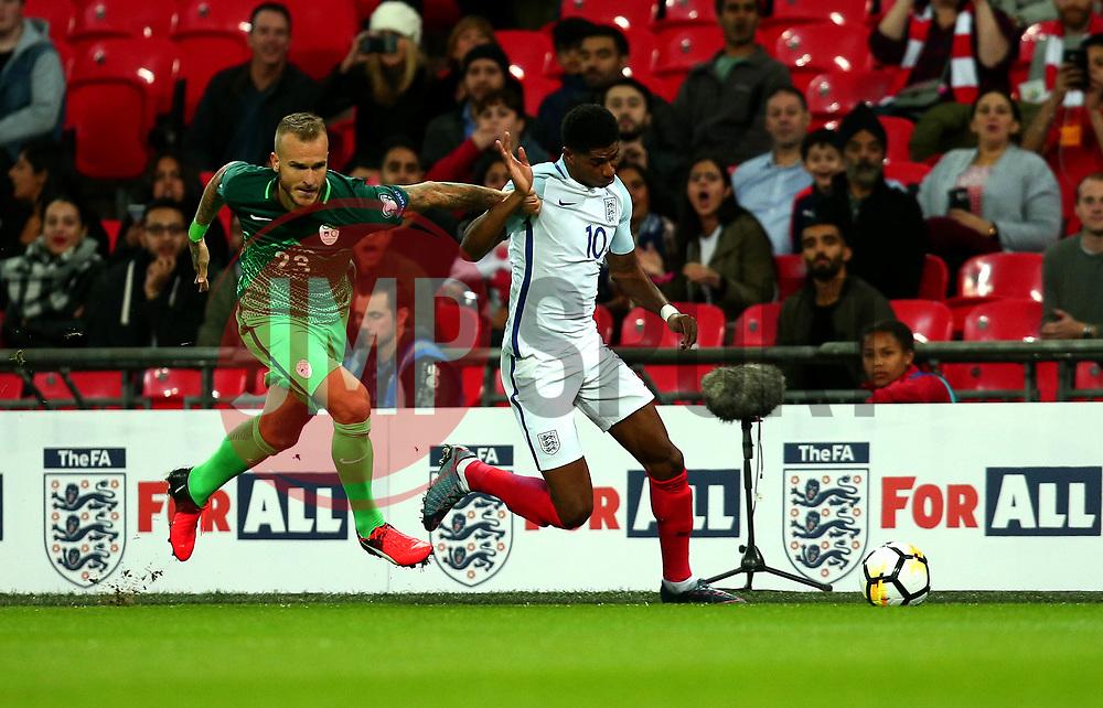 Marcus Rashford of England goes past Matija Sirok of Slovenia - Mandatory by-line: Robbie Stephenson/JMP - 05/10/2017 - FOOTBALL - Wembley Stadium - London, United Kingdom - England v Slovenia - World Cup qualifier