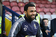 AFC Wimbledon striker Andy Barcham (17) smiling during the EFL Sky Bet League 1 match between AFC Wimbledon and Gillingham at the Cherry Red Records Stadium, Kingston, England on 12 September 2017. Photo by Matthew Redman.