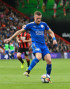 Jamie Vardy (9) of Leicester City on the attack during the Premier League match between Bournemouth and Leicester City at the Vitality Stadium, Bournemouth, England on 30 September 2017. Photo by Graham Hunt.
