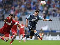 Fussball 2. Bundesliga:  Saison   2012/2013,    4. Spieltag  TSV 1860 Muenchen - MSV Duisburg    31.08.2012 Branimir Bajic (MSV Duisburg)  gegen Moritz Stoppelkamp (1860 Muenchen)