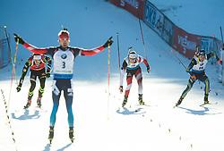 FOURCADE Martin (FRA), SHIPULIN Anton (RUS), EDER Simon (AUT) and LINDSTROEM Fredrik (SWE) compete at finish line during Men 15 km Mass Start at day 4 of IBU Biathlon World Cup 2014/2015 Pokljuka, on December 21, 2014 in Rudno polje, Pokljuka, Slovenia. Photo by Vid Ponikvar / Sportida