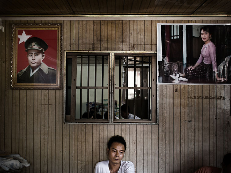 An NLD supporter in the party's headquarter at the eve of the April 1st by-elections. Yangon. Myanmar 2012