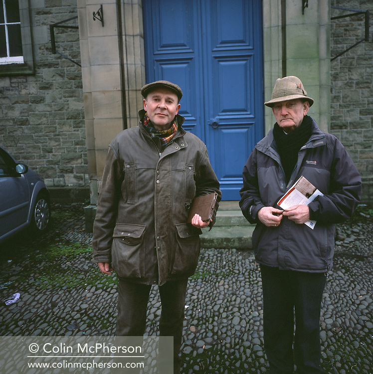 """'Jehovah's Witnesses, Coldstream, 2014' from 'A Fine Line - Exploring Scotland's Border with England' by Colin McPherson.<br /> <br /> """"We won't be voting in the referendum on Scottish Independence as we don't take part in elections. There is only one leader we support - God.""""<br /> <br /> The project was a one-year exploration of the border between the two historic nations, as seen from the Scottish side of the frontier.<br /> <br /> Colin McPherson is a photographer and visual artist based in north west England. In 2012 he was one of the founding members of Document Scotland, a collective of four Scottish documentary photographers brought together by a common vision to witness and photograph the important and diverse stories within Scotland at one of the most important times in our nation's history.<br /> <br /> 'A Fine Line' will be shown for the first time in public at Impressions Gallery, Bradford, from July 1 until September 27, 2014 to coincide with the Scottish Independence referendum."""