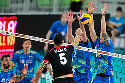 Marco Evan Ferreira of Portugal vs Alen Pajenk of Slovenia and Klemen Cebulj of Slovenia during volleyball match between National teams of Slovenia and Portugal in 2nd Round of 2018 FIVB Volleyball Men's World Championship qualification, on May 26, 2017 in Arena Stozice, Ljubljana, Slovenia. Photo by Vid Ponikvar / Sportida