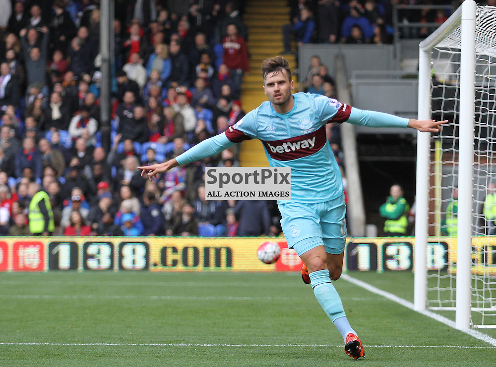 Hammers goalscorer Carl Jenkinson reels away after his goal against Palace