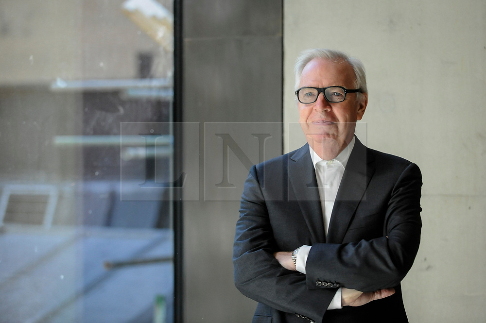 © Licensed to London News Pictures. 14/05/2018. LONDON, UK. Sir David Chipperfield RA, architect, poses at a photocall for the opening of the new Royal Academy of Arts (RA) in Piccadilly.  As part of the celebrations for its 250th anniversary year, redevelopment has seen the RA's two buildings, 6 Burlington Gardens and Burlington House, united into one extended campus and art space extending from Piccadilly to Mayfair.  Photo credit: Stephen Chung/LNP