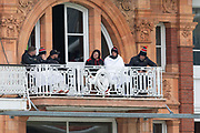 Not saying its cold but... Leicestershire balcony during the Specsavers County Champ Div 2 match between Middlesex County Cricket Club and Leicestershire County Cricket Club at Lord's Cricket Ground, St John's Wood, United Kingdom on 17 May 2019.