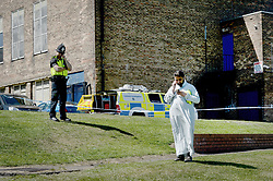 © Licensed to London News Pictures. 25/06/2017. NEWCASTLE UPON TYNE, UK. A man passes the scene near Westgate Sports Centre where a car hit worshippers leaving Eid prayers. There are believed to be at least six people hurt in the incident. A 42 year old woman was arrested at the scene. Photo credit: MARY TURNER/LNP