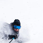 Forrest Jillson skiing blower storm powder in the Teton backcountry of Wyoming.