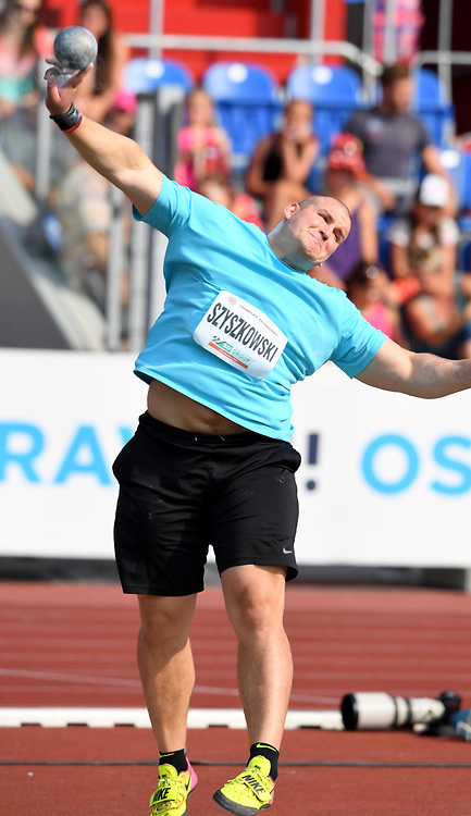 Jakub Szyszkowski (POL) places seventh in the shot put with a throw of 65-11 (20.41m) during the 56th Ostrava Golden Spike in an IAAF World Challenge meeting at Mestky Stadion in Ostrava, Czech Republic on Wednesday, June 28, 20017. (Jiro Mochizuki/Image of Sport)