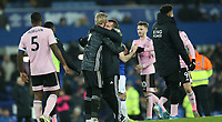 Football - 2019 / 2020 EFL Carabao (League) Cup - Quarter-Final: Everton vs. Leicester City<br /> <br /> Kasper Schmeichel and Brendan Rodgers manager of Leicester City at Goodison Park.<br /> <br /> COLORSPORT/LYNNE CAMERON