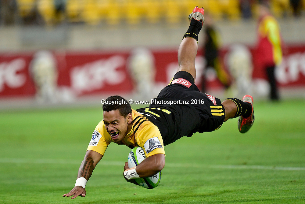 Te Toiroa Tahuriorangi of the Hurricanes scores a try during the Hurricanes vs Kings Super Rugby  match at the Westpac Stadium in Wellington on Friday the 25th of March 2016. Copyright Photo by Marty Melville / www.Photosport.nz