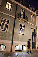 "The facade of hotel ""Casa das janelas com Vista"" in Bairro Alto district, in Lisbon."