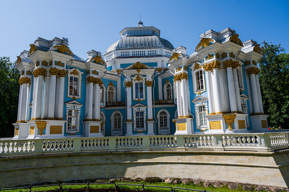 Pushkin, Russia -- July 22, 2019. Photo of guest quarters on the grounds of Catherine Palace outside St Petersburg.