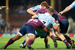 March 9, 2019 - Sydney, NSW, U.S. - SYDNEY, NSW - MARCH 09: Reds player Izack Rodda (4) hits in a big tackle from Waratahs player Michael Hooper (7) and Waratahs player Harry Johnson-Holmes (1) at round 4 of Super Rugby between NSW Waratahs and Queensland Reds on March 09, 2019 at The Sydney Cricket Ground, NSW. (Photo by Speed Media/Icon Sportswire) (Credit Image: © Speed Media/Icon SMI via ZUMA Press)