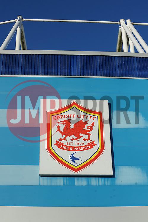 Cardiff City logo on the outside of the Cardiff City Stadium - Photo mandatory by-line: Dougie Allward/JMP - Mobile: 07966 386802 19/08/2014 - SPORT - FOOTBALL - Cardiff - Cardiff City Stadium - Cardiff City v Wigan Athletic - Sky Bet Championship