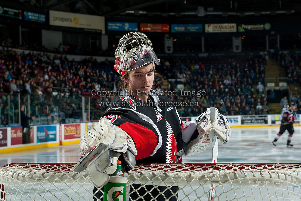 KELOWNA, CANADA - JANUARY 18: Brody Willms #35 of the Moose Jaw Warriors stands in net without a helmet during a time out against the Kelowna Rockets on January 18, 2017 at Prospera Place in Kelowna, British Columbia, Canada.  (Photo by Marissa Baecker/Shoot the Breeze)  *** Local Caption ***
