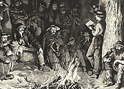 Listening to 'The Old Curiosity Shop'  in the West. Illustration for Bret Hart's poem 'Little Nell', based on a popular anecdote.  When  Charles Dickens'  book was published in serial form in 1841 boats arriving in New York were beseiged by people wanting  the next episode and it was  then passed westwards.  Engraving.