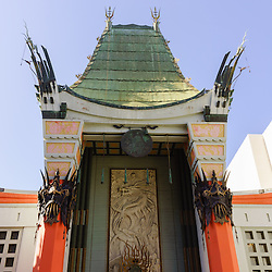 Photo of Grauman's Chinese Theatre in Hollywood California. Grauman's Chinese Theatre is a very popular attraction in Los Angeles county. The theater is near the Hollywood Walk of Fame and is famous for celebrity handprints and footprints in the cement in front of the theater. The photo is vertical, high resolution and was taken in 2012.