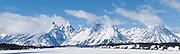 Grand Tetons and Mount Moran Mountains Pano Shot taken from Moran Wyoming