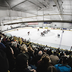 TORONTO, ON - APR 10, 2018: Ontario Junior Hockey League, South West Conference Championship Series. Game seven of the best of seven series between the Georgetown Raiders and the Toronto Patriots, a packed Westwood Arena watches the opening face-off during the first period.<br /> (Photo by Kevin Raposo / OJHL Images)