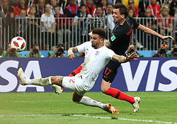 MOSCOW, July 11, 2018  Kyle Walker (L) of England vies with Mario Mandzukic of Croatia during the 2018 FIFA World Cup semi-final match between England and Croatia in Moscow, Russia, July 11, 2018. (Credit Image: © Cao Can/Xinhua via ZUMA Wire)