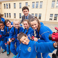 Mayor of Ennis Johnny Flynn with 6th class students of CBS Ennis. As parents of 4 past pupils of CBS, Ennis, Johnny and his wife Catherine were delighted to sponsor cameras for the schools  photographic technology.