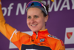 Megan Guarnier (USA) of Boels-Dolmans Cycling Team celebrates winning Stage 3 of the Ladies Tour of Norway - a 156.6 km road race, between Svinesund (SE) and Halden on August 20, 2017, in Ostfold, Norway. (Photo by Balint Hamvas/Velofocus.com)